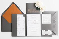 Modern masculine copper foil wedding invitations