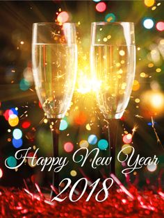 Sparking Happy New Year Card 2018: Fill the holiday with the glowing promise of a bright future! New Years, new beginnings, and new adventures are around the corner, waiting to be greeted properly with champagne at a party! Throw open the doors and welcome everything that's coming. Let your family know you're eager to celebrate the forthcoming year with them with this sparkling Happy New Year card!
