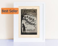 To Kill a Mockingbird by Harper Lee Print on an antique page, book lover gift, book cover print, bookish gifts