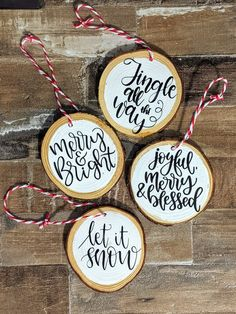 Set of Four Natural Wood Slice Christmas Ornaments   Etsy