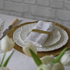 Gold Glitter Place Mat Set Of Two