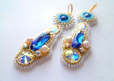Серьги золотисто-синие с жемчугом - голубой,синий,золотистый,молочный