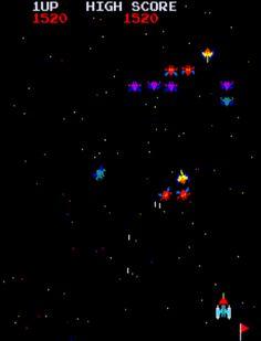 Galaxian (ギャラクシアン Gyarakushian). Gran fixed-shooter creado por Namco en 1979. Una sola nave contra varios enjambres de aliens, e incluso los hay kamikazes