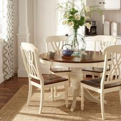 HomeSullivan Round Antique White and Warm Cherry Dining Table Set(5-Piece) 401393W-48[5PC] at The Home Depot - Mobile