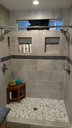 49 Luxurious Tile Shower Design Ideas For Your Bathroom is part of Master bathroom shower - Suppose you just moved into a new home It is the home of your dreams with one exception; Master Bathroom Shower, Modern Bathroom, Bathroom Gray, Shower Walls, Grey Tile Shower, Small Tile Shower, Small Bathrooms, Small Baths, Black Shower