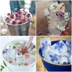 Cool spring summer party idea! Oh my gosh, its so cool! Flowers inside of ice cubes!