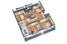 Beispiel-Wohnung mit 3 Zimmern. #wohnen #Einrichtung #Berlin Weitere Beispiele unter: http://www.gruenauergruen.com/wohnungen.php