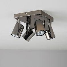 Theatre Black Nickel Effect 4 Lamp Spotlight   Departments   DIY at B&Q