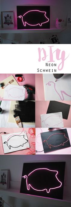 DIY // Neonschilder selber machen How cool is that? Do you want a neon pig too? Print out the template and make your own piggy ; Diy Presents, Diy Gifts, Diys, Diy Glasses, Diy Y Manualidades, Birthday Diy, Diy Box, Diy Wall, Diy For Kids