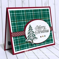 Stampin' Up! perfectly plaid, wrapped in plaid dsp Homemade Christmas Cards, Christmas Cards To Make, Christmas Greeting Cards, Christmas Greetings, Handmade Christmas, Holiday Cards, Christmas Diy, Christmas 2019, Winter Karten