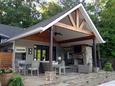 Front porch addition, metal building homes, building a house, garage loft, barn Outside Patio, Back Patio, Metal Building Homes, Building A House, Store Veranda, Covered Patio Design, Backyard Covered Patios, Porch Area, Porch Roof