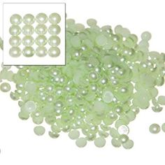 Busy Bead Pack of 500 x Green Flat Back Pearls 5mm for Nails, Art, Craft, Clothes etc: Amazon.co.uk: Toys & Games