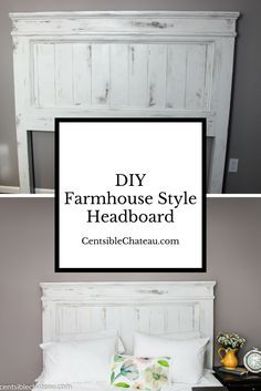 Make your own Farmhouse Style Headboard with Printable Instructions. Bedroom Decor|Bedroom Remodel