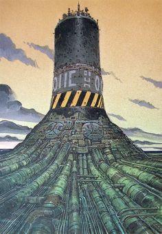 Art by Moebius Cyberpunk City, Arte Cyberpunk, Arte Sci Fi, Sci Fi Art, Moebius Art, Sci Fi Environment, Science Fiction Art, Fantasy Landscape, Environmental Art