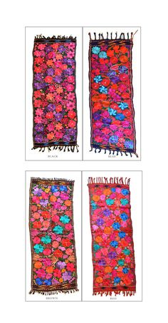 Table runner Guatemalan embroidered flowers by IKALAoutfitter