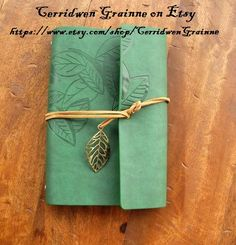Leather Journal Book Of Shadows Leaf Design by CerridwenGrainne