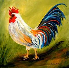 The Patriot Painting - by Barbara Pirkle Rooster Painting, Rooster Art, Initial Door Hanger, Chicken Illustration, Chicken Art, Chickens And Roosters, Beautiful Birds, Painting Inspiration, Farm Animals