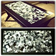 "Find a coffee table with a glass top & put old pictures under the glass. A way to bring the family into the ""Family Room""."