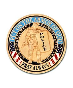 The Armor of God Police coin is a special edition of our popular Armor of God coin. We have replaced the roman soldier with a police officer and highlighted the police colors.