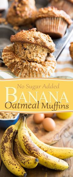 A bunch of overripe bananas were left entirely in charge of sweetening these deliciously healthy, truly sugar free Banana Oatmeal Muffins. Baby Food Recipes, Sweet Recipes, Baking Recipes, Dessert Recipes, Muffin Recipes, Healthy Recipes, Desserts, Healthy Cake, Healthy Muffins
