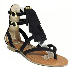 Womens Shoes Luisa Fringe Gladiator Flat Sandal Black *** You can find out more details at the link of the image.(This is an Amazon affiliate link)