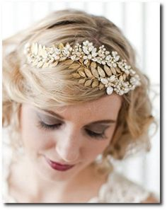 Portobello Jewelry Grecian vintage inspired bridal hair jewelry featuring delicate hand wired freshwater pearl flowers, crystals and brass leaves on tiara headband