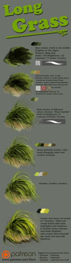 Grass tutorial 2 by NThartyFievi. Grass tutorial 2 by NThartyFievi. Painting & Drawing, Painting Lessons, Painting Techniques, Art Lessons, Painting Grass, Oil Painting Tips, Painting Canvas, Digital Painting Tutorials, Digital Art Tutorial