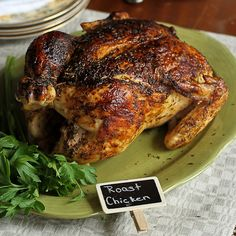 There is nothing more comforting than the aroma of a roasted chicken. This one is paired with a richly flavored onion-garlic gravy.