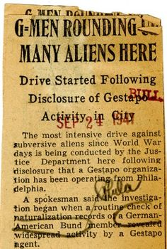 Alien Registration  In the 20th century during the Great War -1917-1919 (WW One) and the Second World War (1940-1945), in the United States those individuals not citizens were classified as 'alien residents.'   During each of those wars, the aliens residents had to register. #aliens #WWI #naturalization #familytree #genealogy #familyhistory