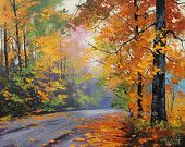 REALISTIC OIL PAINTING fall trees impressionism by GerckenGallery
