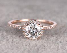 Compromiso de Moissanite brillante 1ct anillo de oro por popRing
