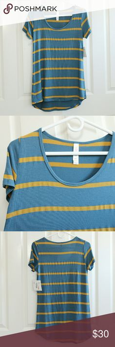 LuLaRoe Classic T XXS LuLaRoe Classic T shirt.  Size XXS.  About 17 inches armpit to armpit.  About 27 inches shoulder to front hem.  Nautical blue and a goldenrod yellow stripe.  NWT.  A very small pick in the fabric in the front.  Shown in pictures. LuLaRoe Tops