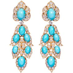 Magnificent 1960s Van Cleef & Arpels Turquoise Diamond Gold Earrings. A magnificent pair of turquoise and diamond pendant earrings of oriental inspiration by Van Cleef and Arpels, each of stylised foliate design, set with cabochon turquoises and brilliant cut diamonds, mounted in 18 karat yellow gold. Signed VAN CLEEF & ARPELS, N.Y. and numbered. New York, 1966.