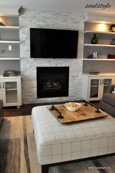 Family room - I would like a little more contrast with the book shelves though.