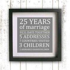 Parent's Wedding Anniversary Gift Printable - Gray