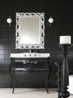 Glossy Black Classic Bathroom Vanity Furniture from IMPERO Collection Country Bathroom Vanities, Black Vanity Bathroom, White Bathroom, Traditional Bathroom Cabinets, Bathroom Vanity Organization, Bathroom Ideas, Bathroom Inspiration, Glamour Decor, Classic Bathroom