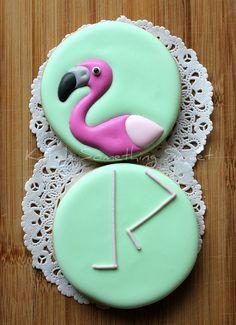 flamingos - royal icing cookies