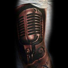 Mens Forearms Sepia Toned Microphone Tattoo