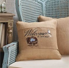 Welcome To Our Nest Pillow Wrap Living  Mud Pie