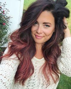 Rose-gold balayage on dark brown hair.