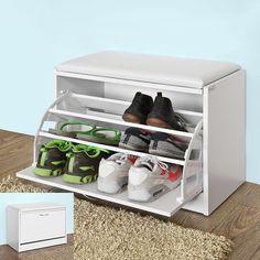 SoBuy® FSR16-W Banc Armoire à chaussures 1 abattant avec coussin, Coffre Rangement pour chaussures - Blanc: Amazon.fr: Cuisine & Maison