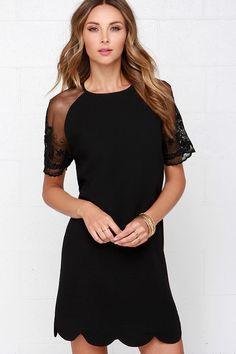 Earned It Black Lace Shift Dress at Lulus.com!