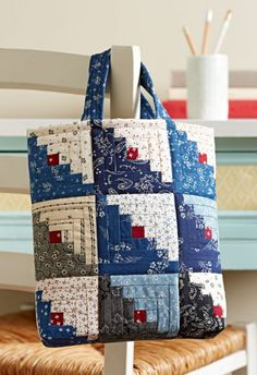 Mini Log Cabin Bag | AllPeopleQuilt.com - made from 18 charm squares of color & 18 charm squares of light.