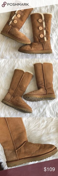 UGG Chestnut Bailey Button Triplet Tall Boots UGG Bailey Button Triplet Boots. Tall Chestnut Boots. Size 8. Wear is shown in pictures. Still have plenty of life left in them. Feel free to ask any questions. Prices not discussed in comments. UGG Shoes Winter & Rain Boots