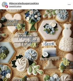 I love wedding season and this lovely mix of dusty blues and grays with the added greenery is really pretty. A lifetime of blessings to… Blue Cookies, Iced Cookies, Royal Icing Cookies, Cupcake Cookies, Sugar Cookies, Crazy Cookies, Cupcakes, Wedding Shower Cookies, Wedding Shower Decorations