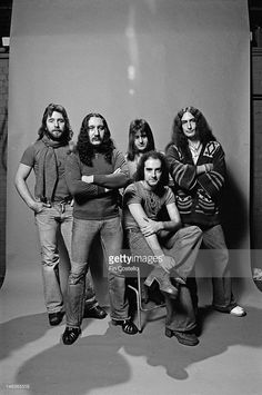English rock group Uriah Heep posed in London in December 1976. Left to right: Lee Kerslake, Mick Box, Trevor Bolder (back) John Lawton (front) and Ken Hensley.