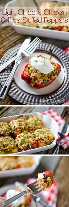 Light Chipotle Chicken & Rice Stuffed Peppers are loaded with lean ground chicken, brown rice, black beans, corn and chipotle salsa and are topped with melted cheddar and crunchy tortilla chips! 21 Day Fix Approved #21DayFix