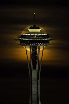 Space Needle and moon