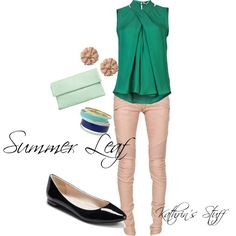 Summer Leaf by kathrinstuff on Polyvore featuring Balmain, Lipsy, Halston Heritage, Summer, GREEN, beige and leaf