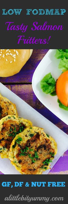 These tasty salmon fritters are easy to whip up for lunch or make as a tasty snack. Salmon is high in calcium, which is great for those of us on the low FODMAP diet who can't tolerate dairy products. These fritters make great burger patties or you can serve them on top of rice vermiclli noodles & stir-fried veggies. This recipe makes 2 serves.